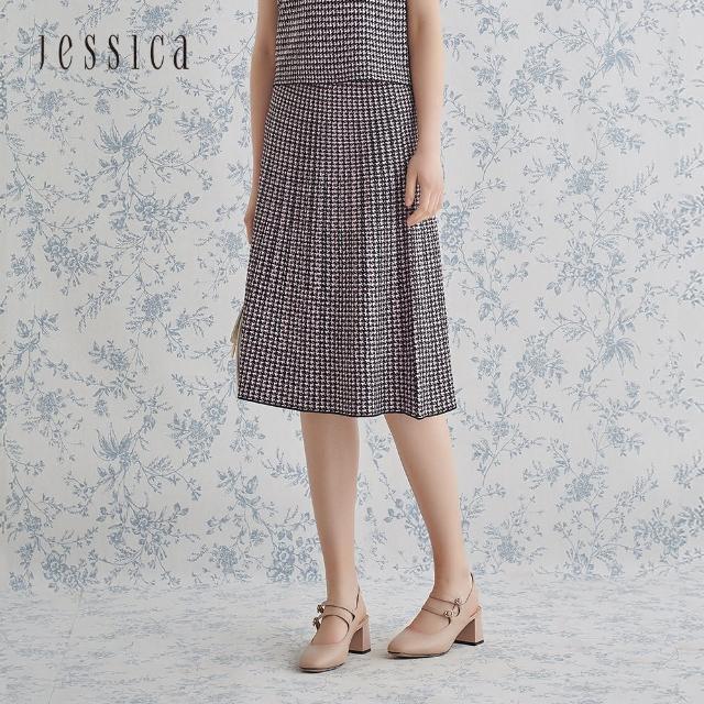 【JESSICA】復古優雅百搭千鳥格紋交織寬擺針織裙(粉/綠)