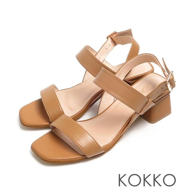 【KOKKO 集團】時髦方頭小牛皮一字帶梯形粗跟涼鞋(奶茶色)
