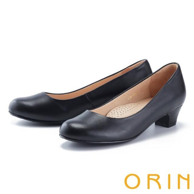 【ORIN】經典素面真皮百搭 女 低跟鞋(黑色)