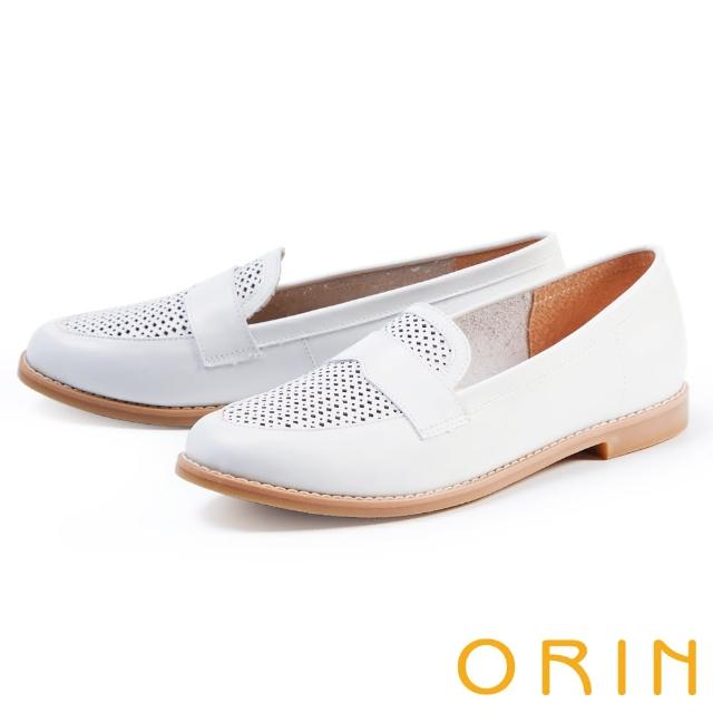 【ORIN】趣味穿孔真皮平底 女 樂福鞋(白色)
