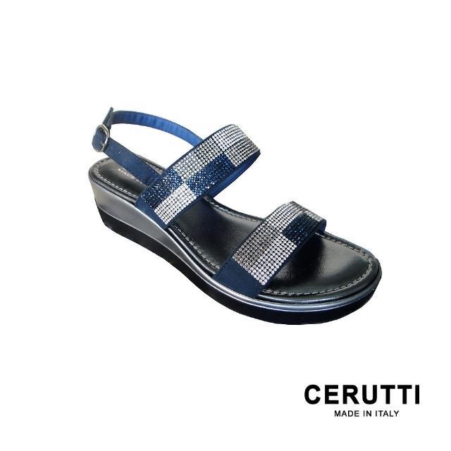 【GRUNLAND】義大利CERUTTI棋盤水晶配色平底精品舒適涼鞋 海洋藍(義大利設計師鞋款MADE IN ITALY)