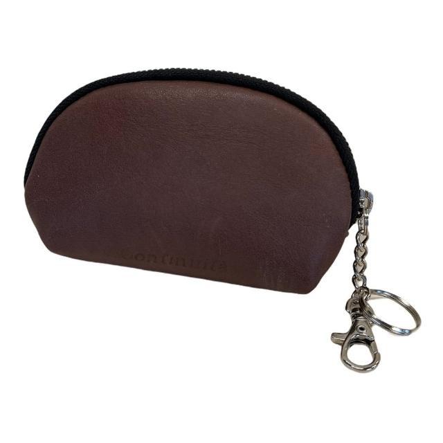 【Continuita 康緹尼】頭層牛皮零錢包/化妝包/印章包-棕色(手拿小包/零錢包/化妝包)