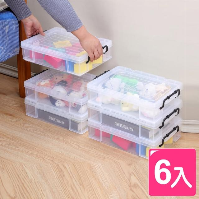 【真心良品】KEYWAY耐久型掀蓋式透明整理箱15L-6入(MIT台灣製 收納箱 床下/玩具/衣物/雜物/書籍置物箱)