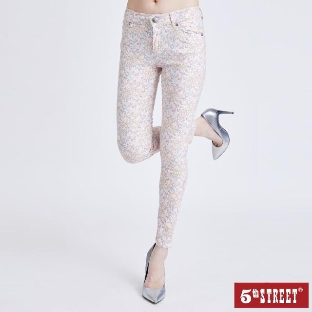 【5th STREET】女彈性小碎花窄管褲-粉紅