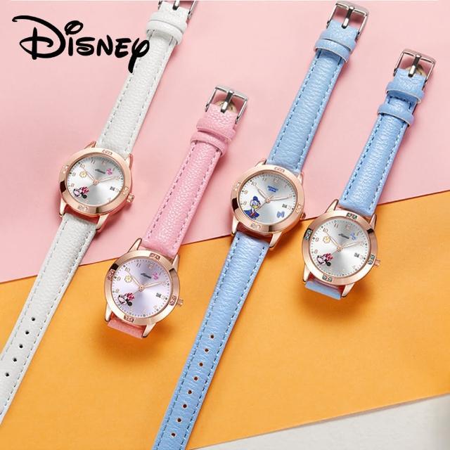 【Disney 迪士尼】可愛米妮 鑲鑽日曆石英女款手錶 女童手錶