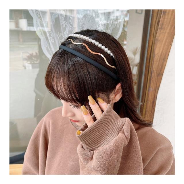 【HaNA 梨花】韓國只屬於妳.波浪珍珠髮箍三件套