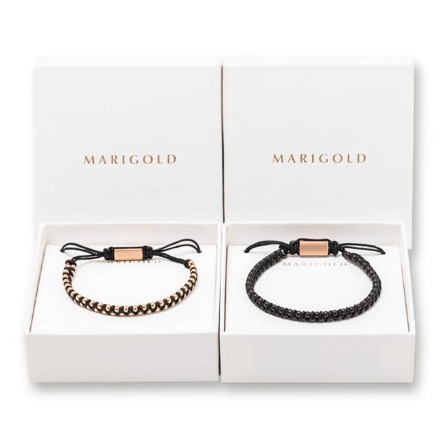 【MARIGOLD 美爾朵】對飾禮盒-西德鋼雙層串珠抽拉式手鍊(女款-玫金黑 / 男款-黑)