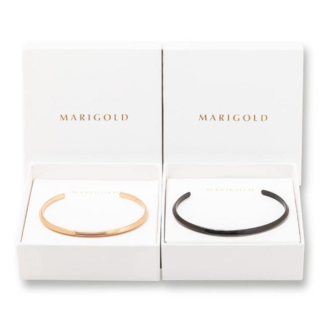 【MARIGOLD 美爾朵】對飾禮盒-西德鋼斜面C型環(女-玫瑰金 / 男款-黑)