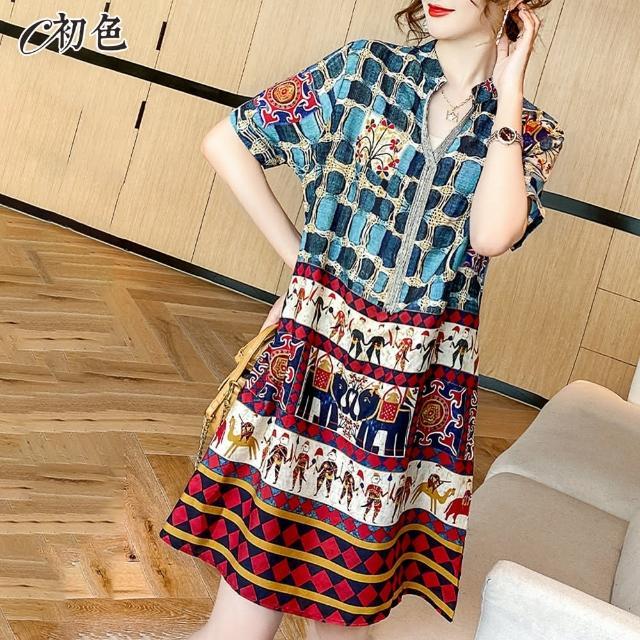【初色】民族風印花連身裙-藍色-99052(M-2XL可選)