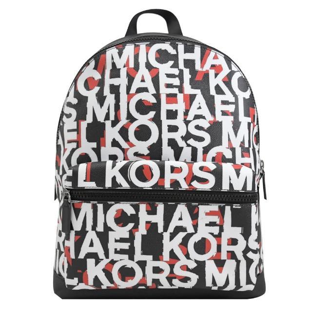 【Michael Kors】COOPER 滿版英文LOGO手提商務包後背包(黑/紅)
