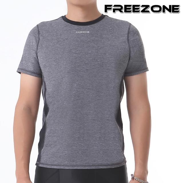 【FREEZONE】男短袖運動上衣(灰)(吸濕排汗/慢跑/跑步/登山/重訓/健身房/瑜伽)