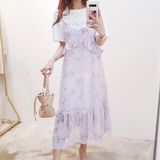 【BBHONEY】東大門款碎花吊帶裙白色字母長版T二件式洋裝(網美熱搜款)