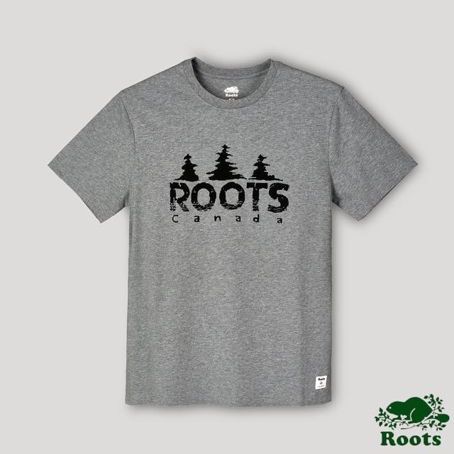 【Roots】Roots男裝-戶外野營系列 加拿大人森林戳章短袖T恤(灰色)
