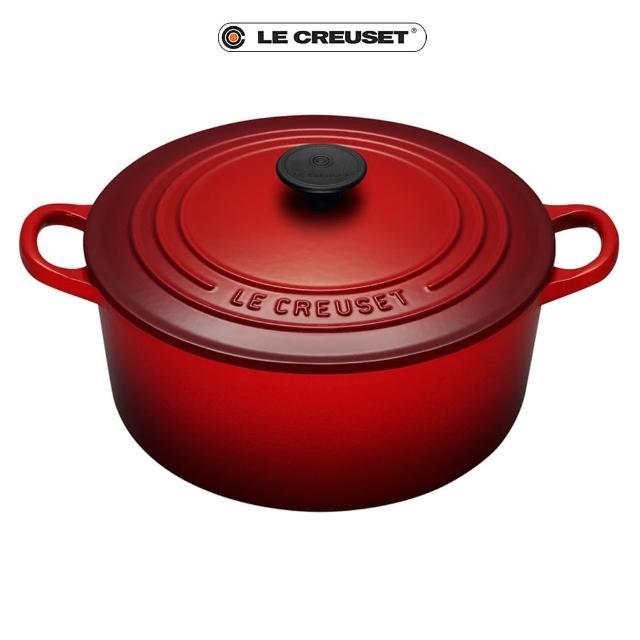 【Le Creuset】琺瑯鑄鐵圓鍋28cm(櫻桃紅-電木頭)