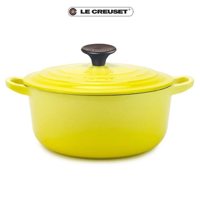 【Le Creuset】琺瑯鑄鐵圓鍋28cm(閃亮黃-電木頭)