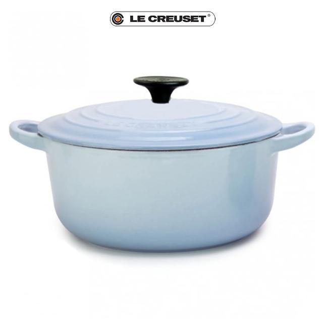 【Le Creuset】琺瑯鑄鐵圓鍋28cm(海岸藍-電木頭)