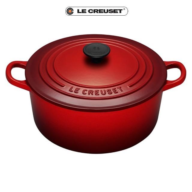 【Le Creuset】琺瑯鑄鐵圓鍋30cm(櫻桃紅-電木頭)