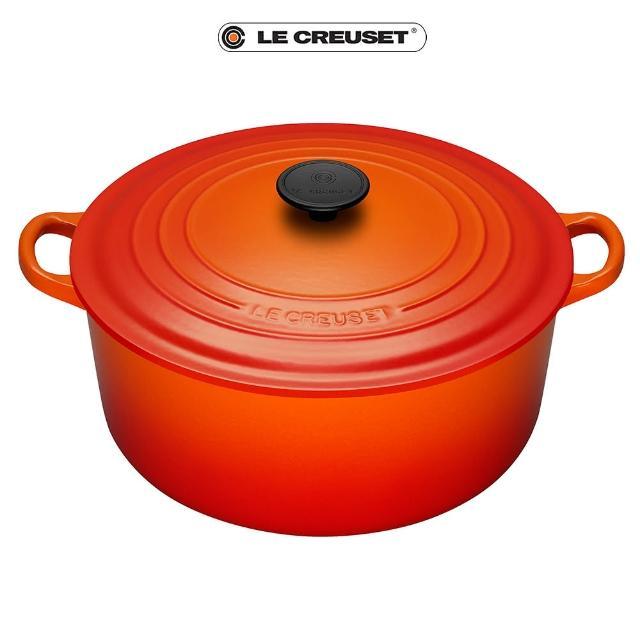 【Le Creuset】琺瑯鑄鐵圓鍋30cm(火焰橘-電木頭)