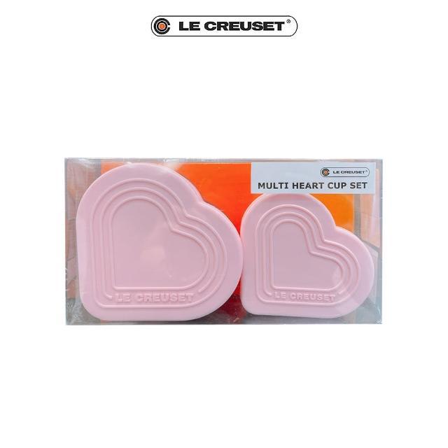 【Le Creuset】耐熱矽膠心型烤模組-附蓋2入(淡粉紅)