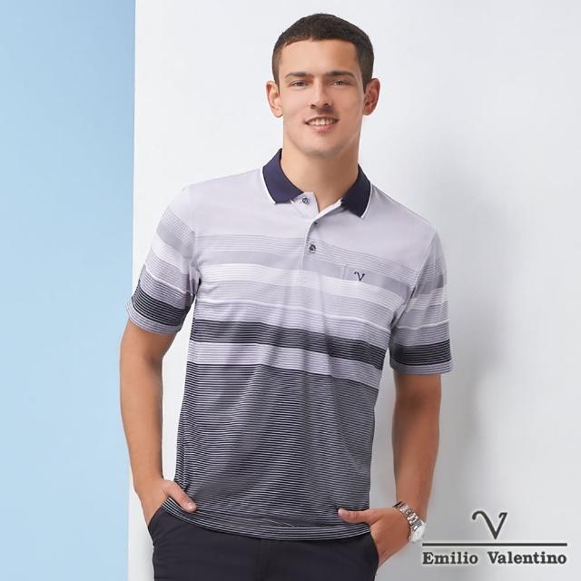 【Emilio Valentino 范倫鐵諾】男裝義式漸層定位橫紋POLO衫_黑/灰/白(21-1V5808)