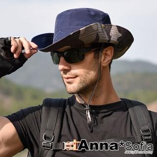 【AnnaSofia】防曬遮陽釣魚登山牛仔漁夫帽-單色迷彩雙面戴(深藍系)