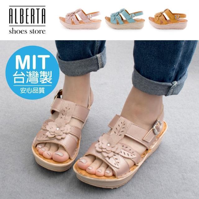 【Alberta】MIT台灣製 前3後5cm涼鞋 休閒百搭立體花朵 皮革楔型厚底圓頭扣帶涼拖鞋