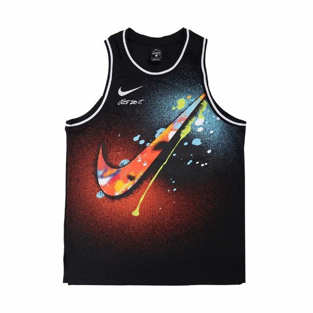 【NIKE 耐吉】球衣 DNA Premium Jersey 男款 潑漆 籃球 背心 吸濕排汗 大勾勾 黑 彩(DJ5217-010)