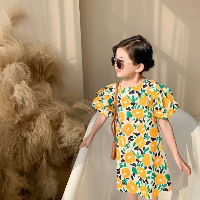 【Baby 童衣】女童洋裝 黃色大花泡泡袖公主連身裙 88703(共1色)