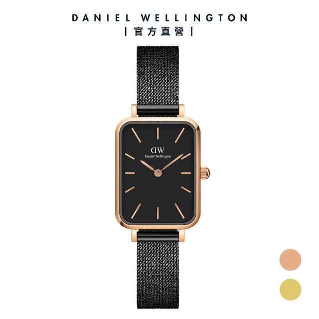【Daniel Wellington】官方直營 Quadro Ashfield 20X26經典黑新型米蘭金屬編織小方錶(DW手錶 DW00100433)