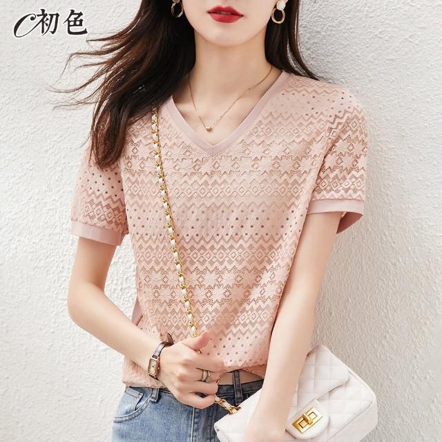 【初色】氣質刺繡蕾絲上衣-粉紅色-99092(M-2XL可選/現貨+預購)