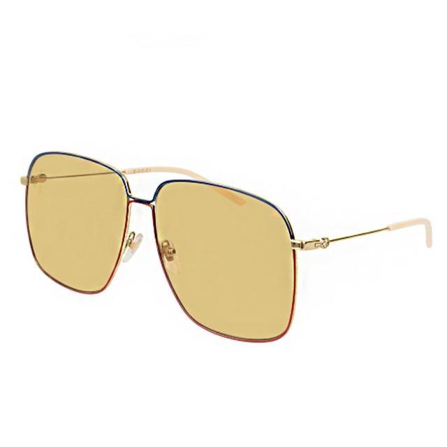 【GUCCI 古馳】時尚大方框經典款黃色鏡片(0394S-005)