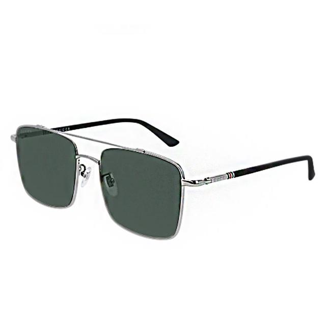 【GUCCI 古馳】雙樑大方框金屬框綠色鏡片(0610SK-003)