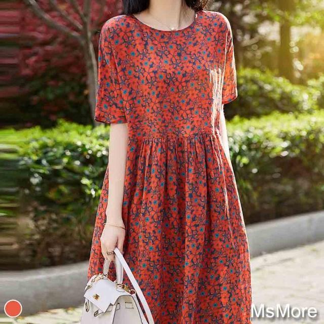 【MsMore】熱情美感印花琉璃絲雪紡寬鬆洋裝#109402現貨+預購(紅色)