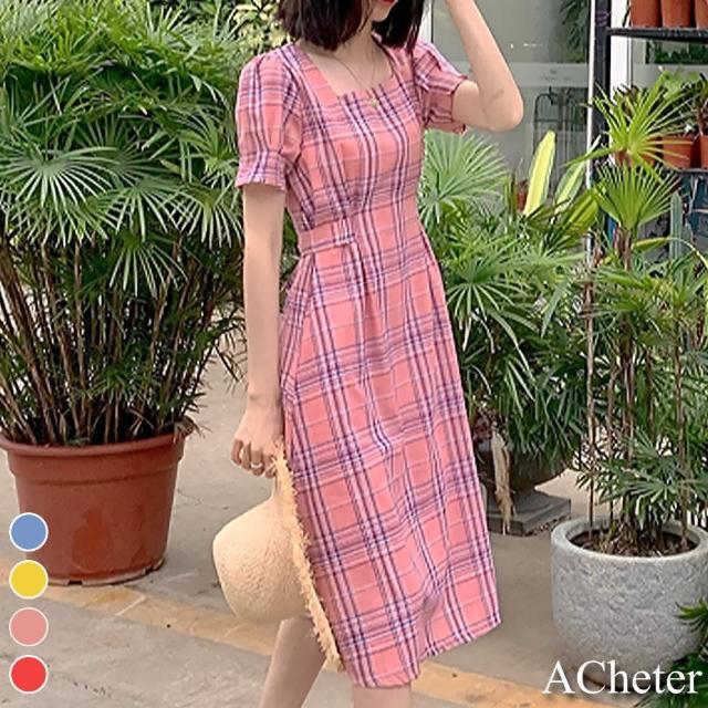 【ACheter】日本氣質貴族公主粉嫩格紋棉質洋裝#109243現貨+預購(4色)