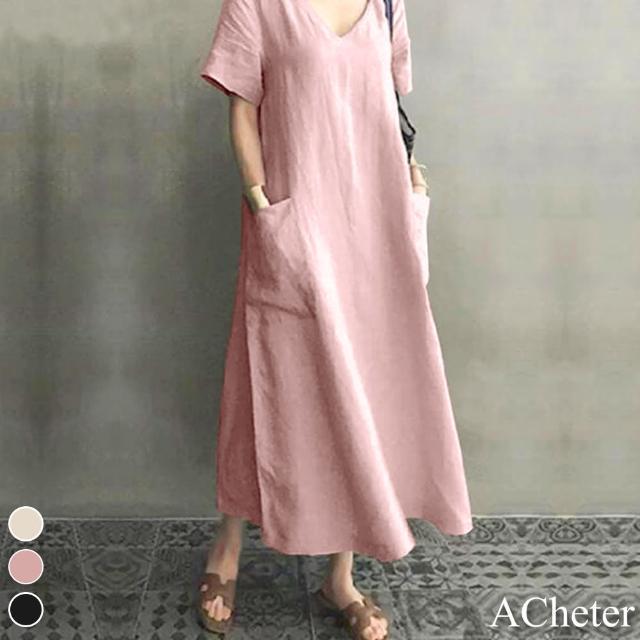 【ACheter】亞馬遜爆款自然風棉麻V領簡約洋裝#109312現貨+預購(3色)
