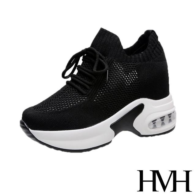 【HMH】舒適時尚縷空飛織網布綁帶造型氣墊厚底內增高休閒鞋(黑)