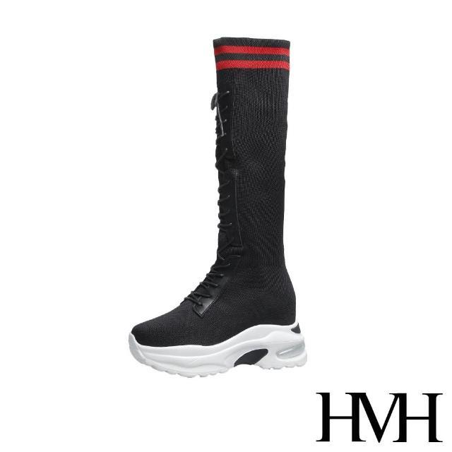 【HMH】厚底長靴 內增高長靴/運動風彈力飛織襪套造型內增高厚底長靴(黑紅)