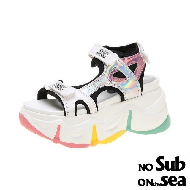 【NO SUB】厚底涼鞋 露趾涼鞋/潮流鐳射亮皮拼接運動風厚底時尚涼鞋(黑)