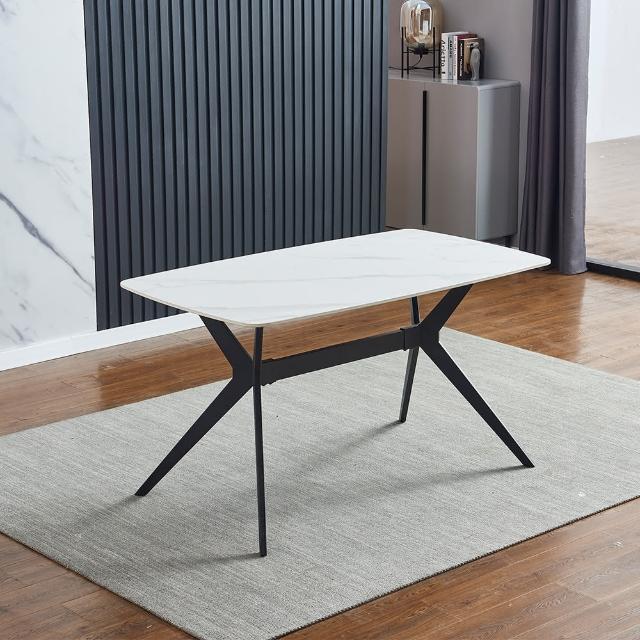 【AT HOME】現代簡約4.6尺白色岩板餐桌/工作桌/洽談桌(柏林)