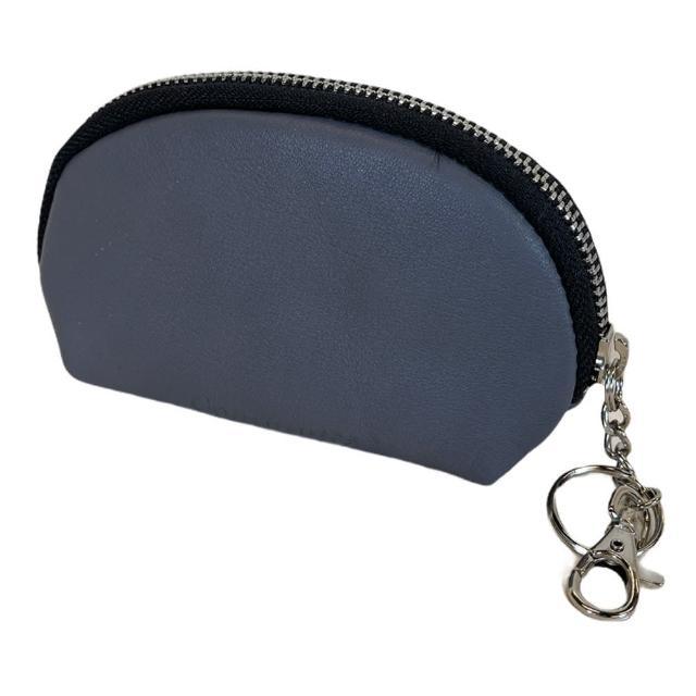 【Continuita 康緹尼】頭層牛皮零錢包/化妝包/印章包-灰色(手拿小包/零錢包/化妝包)