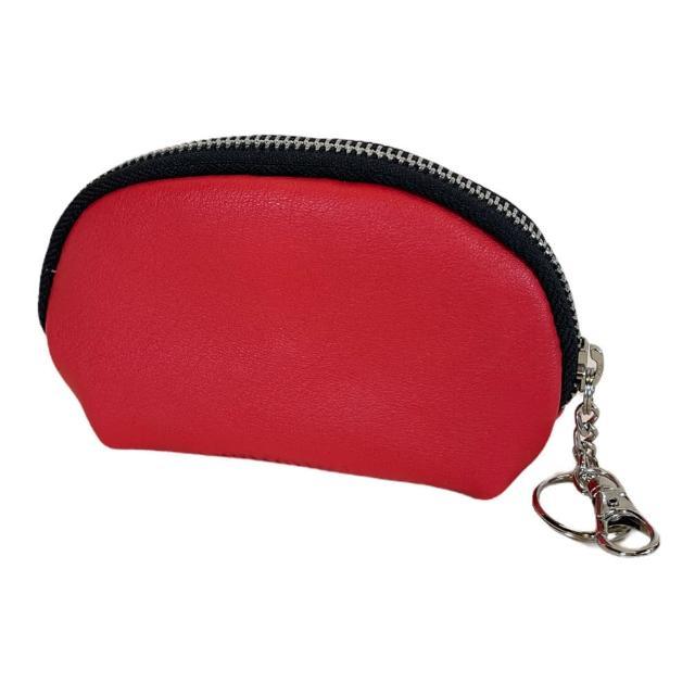 【Continuita 康緹尼】頭層牛皮零錢包/化妝包/印章包-紅色(手拿小包/零錢包/化妝包)