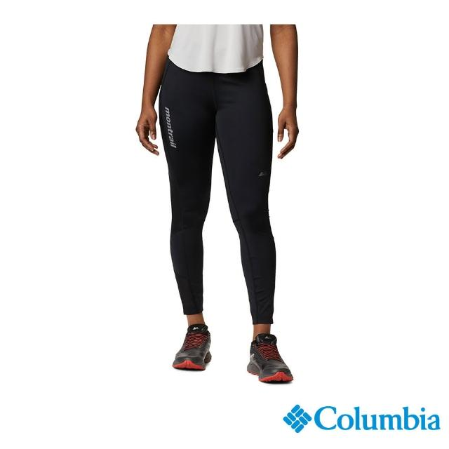 【Columbia 哥倫比亞】女款- 野跑 UPF50快排彈性運動長褲-黑色(UAX23910BK / 快排.防曬.休閒)