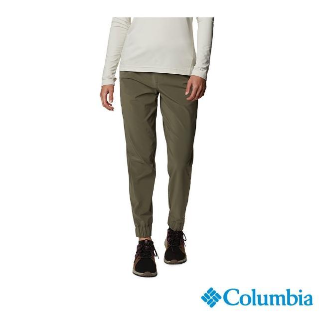【Columbia 哥倫比亞】女款- UPF50防潑長褲-軍綠(UAR24670AG / 快排.防曬.休閒)