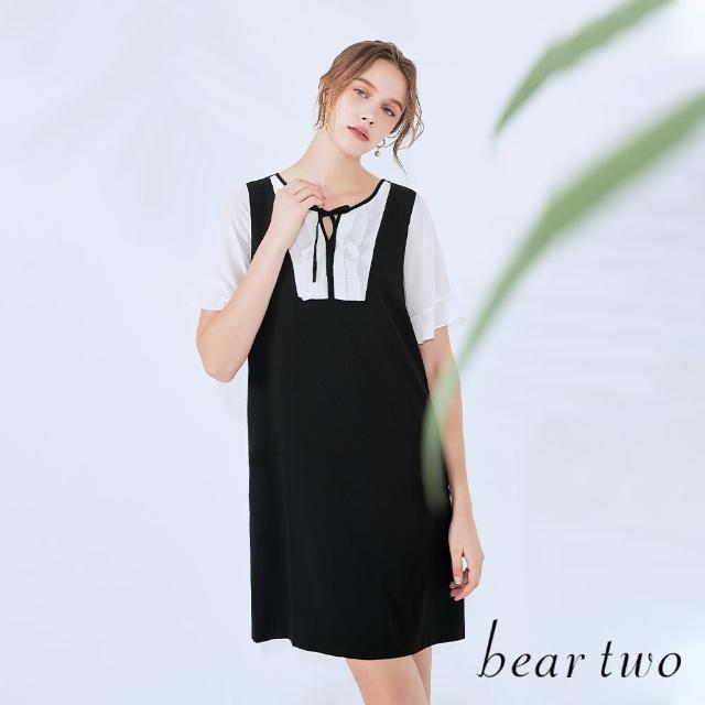 【bear two】領口百褶配色短洋裝(兩色)