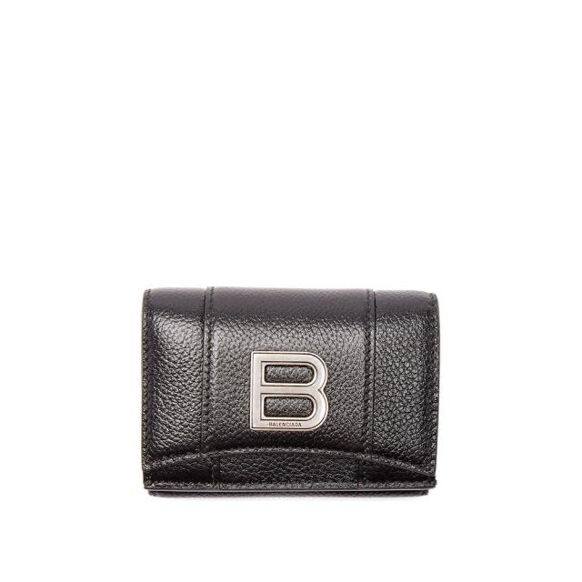 【Balenciaga 巴黎世家】專櫃新款經典金屬B LOGO防刮小牛皮三折簡式短夾 手拿包(皮夾 手拿包 名片夾)