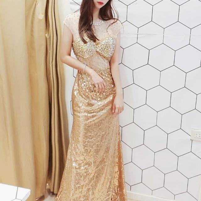 【BBHONEY】婚紗禮服 名媛高級質感金色長款露背長洋(網美熱搜款)