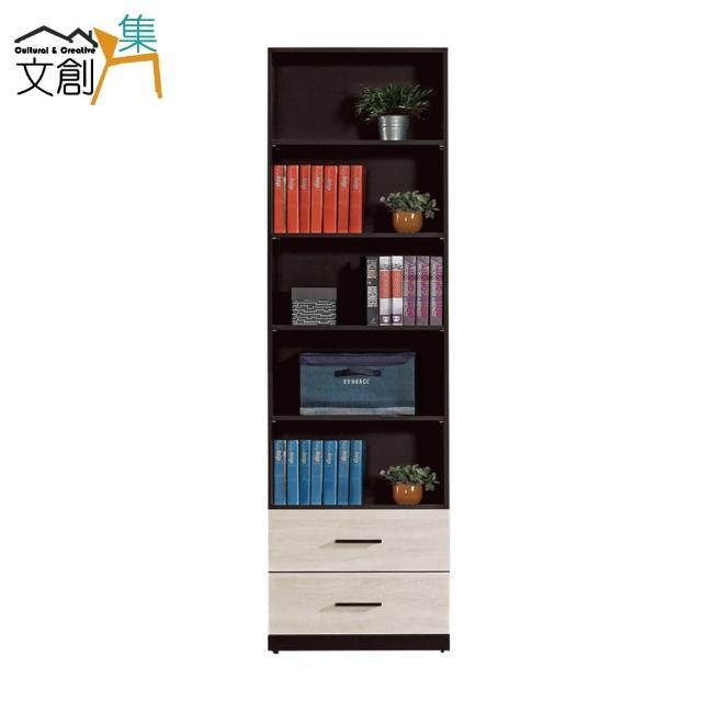 【文創集】巴利萊 現代2尺二抽半開放書櫃/收納櫃