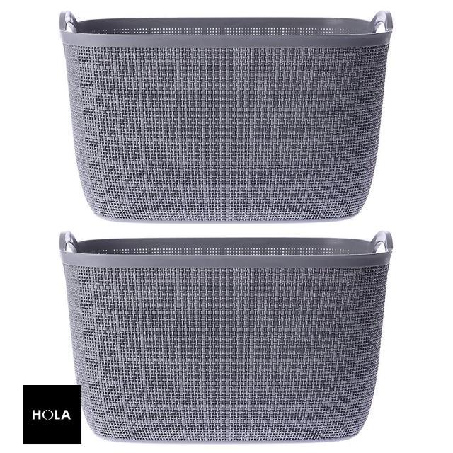 【HOLA】羅拉仿織品紋提籃 L 灰兩入組