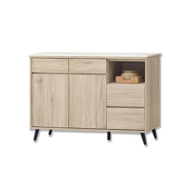 【BODEN】尼克4尺石面碗盤收納餐櫃/碗盤櫃/電器櫃/置物矮櫃