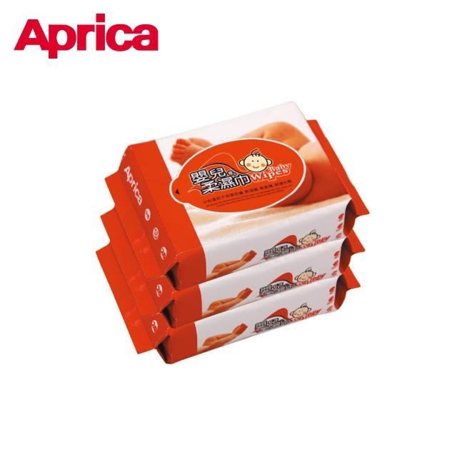 【Aprica 愛普力卡】嬰兒超柔濕巾 居家包 80抽3包組(嬰兒超柔濕巾居家包 箱購共24包)
